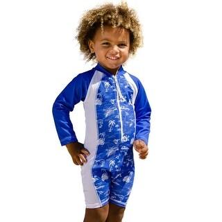 Sun Emporium Boys Navy White Aloha Print Long Sleeve Sun Suit