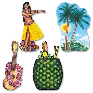 """Club Pack of 48 Fun and Colorful Tropical Luau Cutout Decorations 20"""""""
