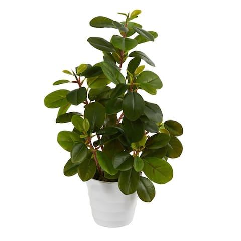 """16"""" Peperomia Artificial Plant in Decorative Planter - 6"""""""