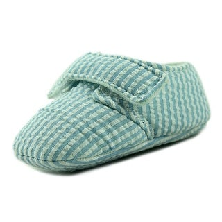 Mudpie Blue SeerSucker Infant Canvas Blue Moccasins