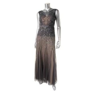 Adrianna Papell Womens Petites Mesh Embellished Evening Dress