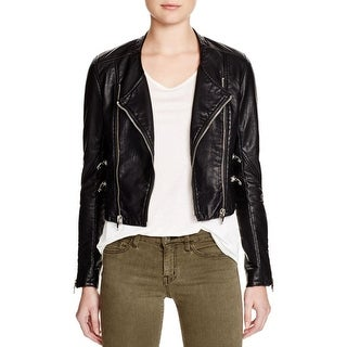 Blank NYC Womens Motorcycle Jacket Faux Leather Outerwear