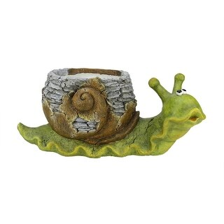 "19.25"" Green and Brown Snail Outdoor Patio Garden Statue and Weathered Planter"