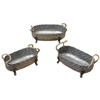 Three Piece Oval Shape Metal Planters With Rope Handle And Splayed Legs, Gray