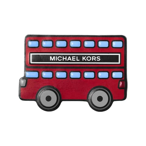 Michael Kors Womens Red Bus Leather Stickers Stick On Patch - Red Multi