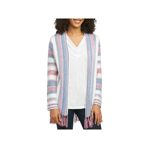 Foxcroft Womens Cardigan Sweater Fringed Striped