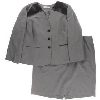 Tahari ASL Womens Plus 2PC Faux Trim Skirt Suit