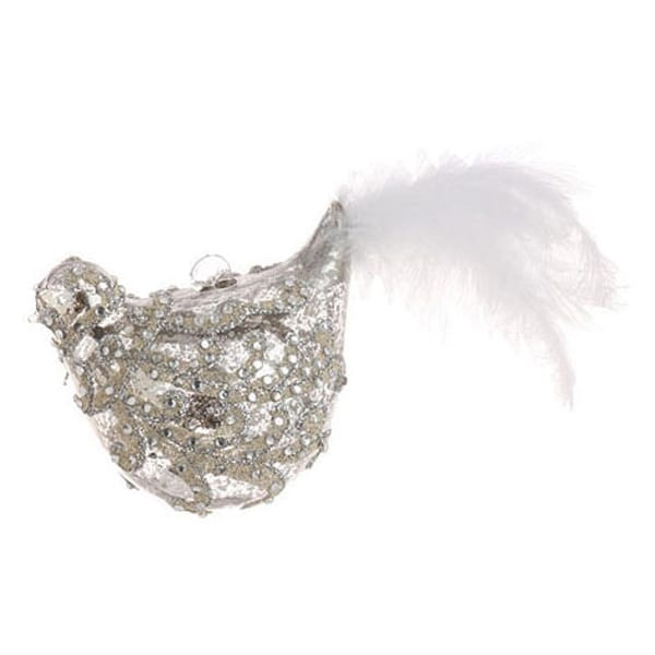 "7.5"" Shiny Silver Jeweled Glass Bird with Faux Feather Tail Christmas Ornament"