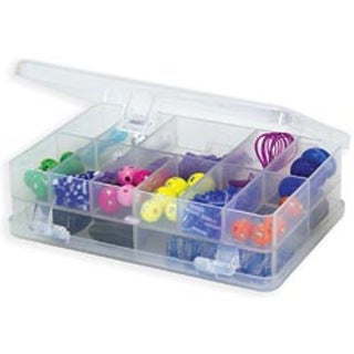 "4.375""X3""X1.25"" Clear - Creative Options Micro Double Utility Box 14 Compartment"