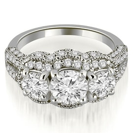1.75 cttw. 14K White Gold Milgrain 3-Stone Round Cut Diamond Engagement Ring