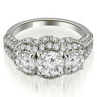 1.75 cttw. 14K White Gold Milgrain 3-Stone Round Cut Diamond Engagement Ring