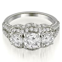 2.00 cttw. 14K White Gold Milgrain 3-Stone Round Cut Diamond Engagement Ring
