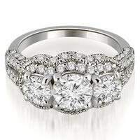 2.25 cttw. 14K White Gold Milgrain 3-Stone Round Cut Diamond Engagement Ring