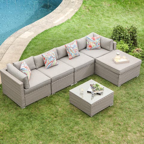 COSIEST 6-Piece Outdoor Sofa in Pearl Gray With 4 Pillows,Ottoman
