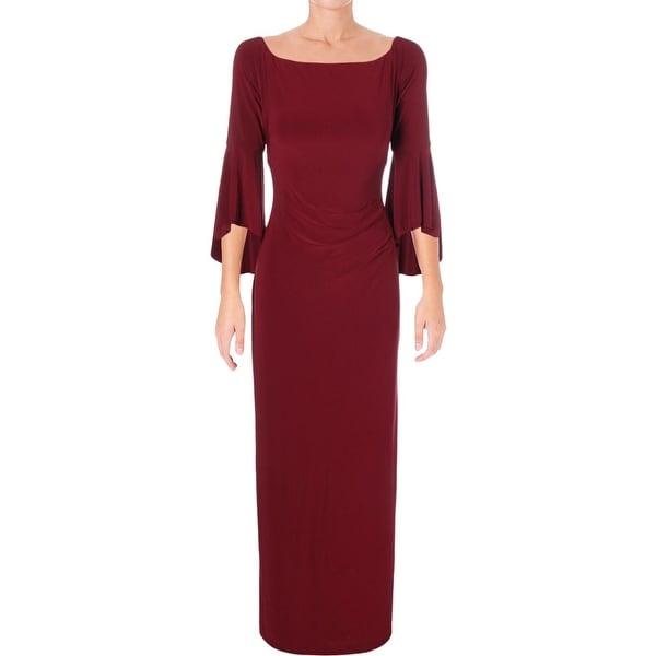 Lauren Ralph Lauren Womens Lenar Evening Dress Off-The Shoulder Bell Sleeve