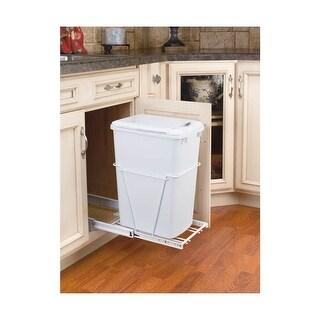 Rev-A-Shelf RV-12PB-LE RV Series Bottom Mount Single Bin Trash Can with Lid and Full Extension Slides - 35 Quart Capacity