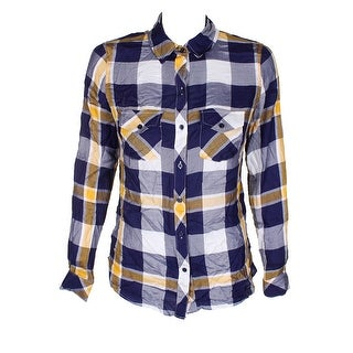 Maison Jules Navy Blue Gold Plaid Utility Pocket Collared Button Down Shirt XS