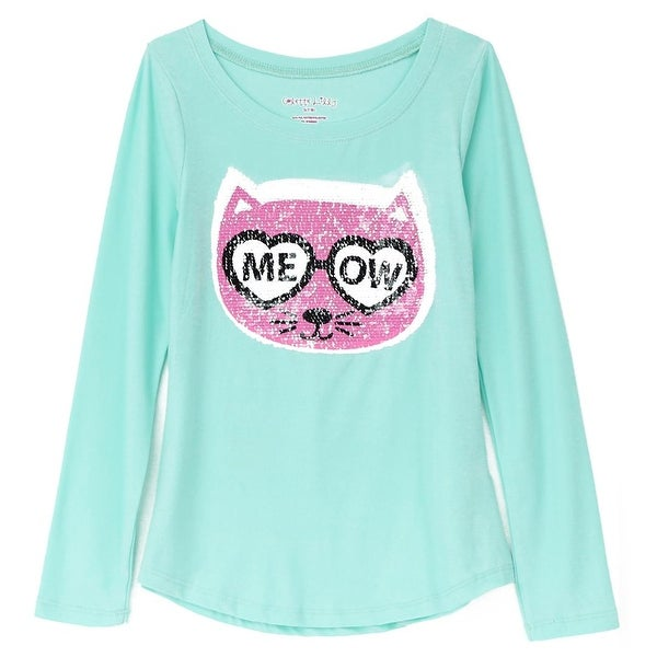 bab54b9916f2 Shop Colette Lilly Girls 4-6X Kitty Meow Sequin Long Sleeve Shirt - Mint -  Free Shipping On Orders Over $45 - Overstock - 26268112