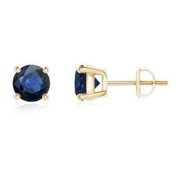 4 Prong Set Basket Round Blue Sapphire Stud Earrings