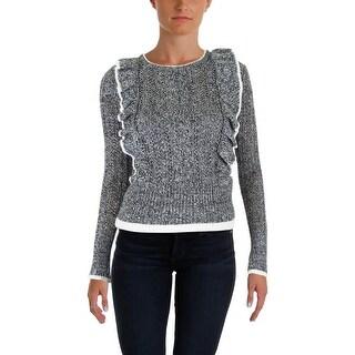 Aqua Womens Crewneck Sweater Heathered Ruffled