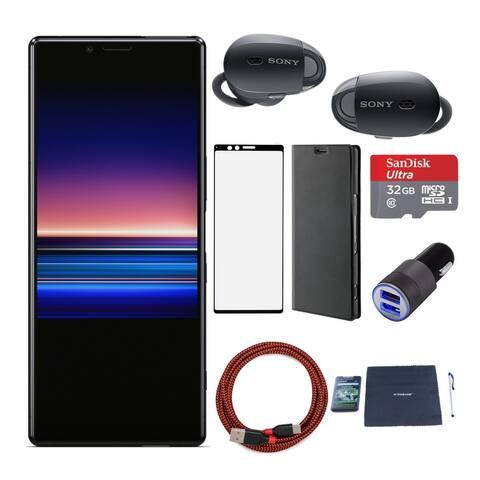 Sony XPERIA 1 (Black) with Sony WF1000 True Wireless Headphones - Black