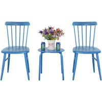 Costway 3Pcs Outdoor Bistro Round Table Chair Furniture Set Garden Lawn Coffee Table (Blue)