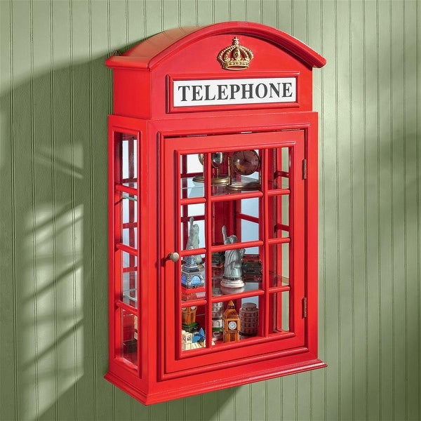 Design Toscano Piccadilly Circus British Telephone Booth Wall Curio Cabinet - 15.5 x 6.5 x 26. Opens flyout.