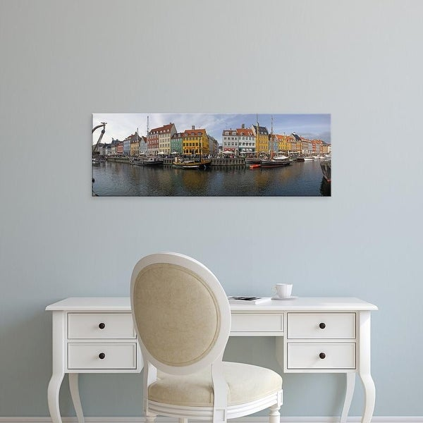 Easy Art Prints Panoramic Images's 'Buildings along a canal with boats, Nyhavn, Copenhagen, Denmark' Canvas Art