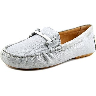 Lauren Ralph Lauren Caliana Women Moc Toe Leather Silver Loafer