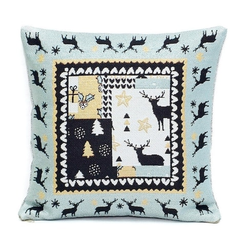 STP Goods Gobelin Christmas Deer Patchwork Tapestry Throw Pillow