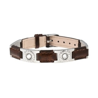Sabona Jewelry Womens Bracelet Leather Gem Magnetic Silver Brown 262