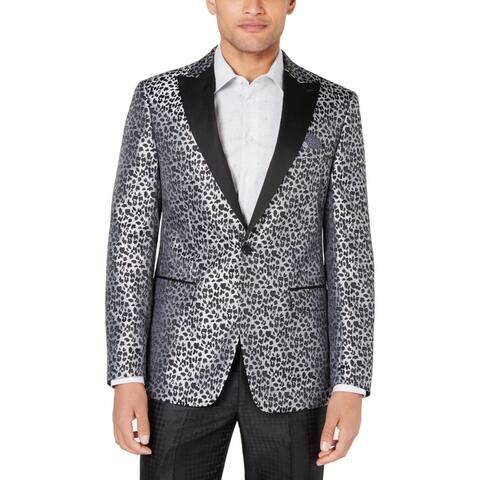 Tallia Mens Valhalla Tuxedo Jacket Metallic Animal Print - Black/Silver
