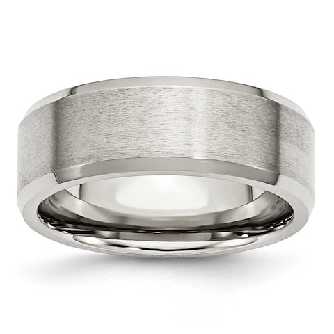 Chisel Beveled Edge Brushed and Polished Flat Stainless Steel Ring (8.0 mm) - Sizes 6-13