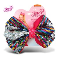 "Jojo Siwa Rainbow Sequin Ponytail Bow On Elastic Hair Band 7""x5"""