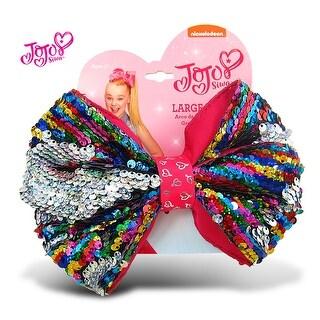 "Jojo Siwa Rainbow Sequin Ponytail Bow On Elastic Hair Band 7""x5"""