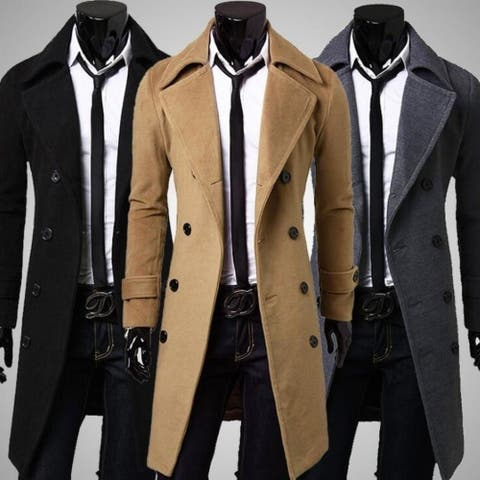 Wool Blend Trenchcoat Double Breasted Pea Coat