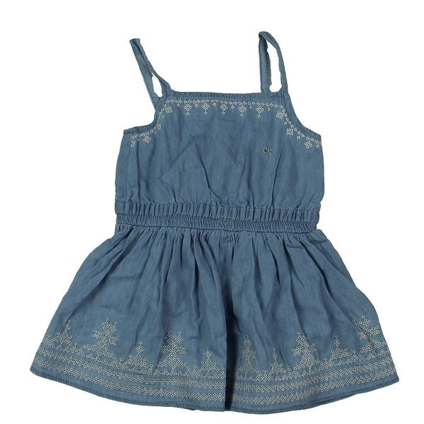2baaf9c04bdb Shop Calvin Klein Jeans Sundress Chambray Embroidered - 2t - Free Shipping  On Orders Over  45 - Overstock.com - 19551093