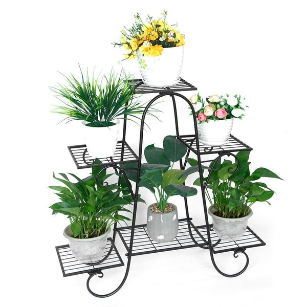 6-Tier Metal Flower Pot Plant Stand Balcony Floor-standing - 8' x 10'. Opens flyout.