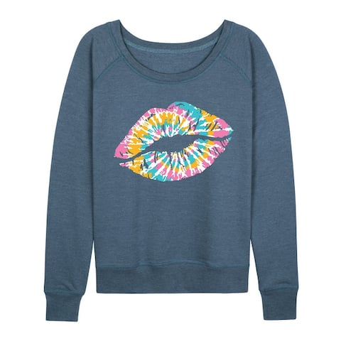 Tie Dye Lips - Women's Lightweight French Terry Pullover