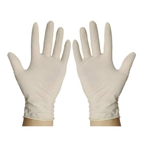Work Protection Latex Disposable Gloves - White - S