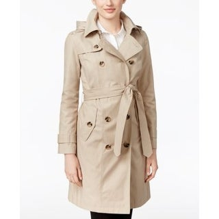 London Fog Petite All-Weather Double-Breasted Stone in Size PXXL