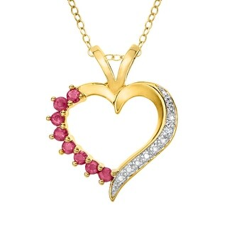 Ruby Heart Pendant with Diamond in 14K Gold Plate - Red