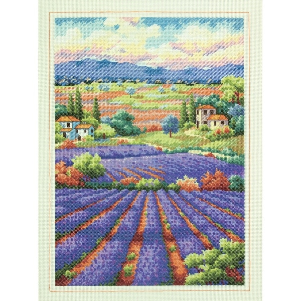 "Gold Collection Fields Of Lavender Counted Cross Stitch Kit-16""X12"" 14 Count"