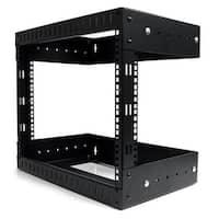 """""""StarTech GU5512 StarTech 8U Open Frame Wall Mount Equipment Rack - Adjustable Depth RK812WALLOA - Black"""""""
