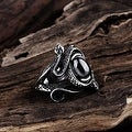 Vienna Jewelry Abstract Black Gem Stainless Steel Ring - Thumbnail 1