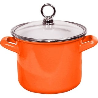 "Link to Calypso Basics by Reston Lloyd Enamel on Steel Stockpot with Glass Lid, 2.5-Quart, Orange -  9.25"" x 7.5"" x 8"" Similar Items in Cookware"