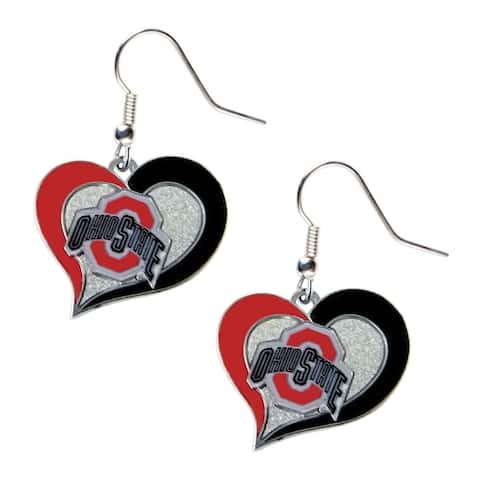 """Ohio State Buckeyes Swirl Heart Dangle Logo Earring Set NCAA - 3/4"""" Charm"""