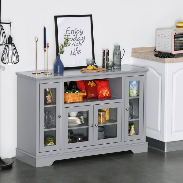 HOMCOM Modern Kitchen Sideboard Buffet Server Cabinet with Glass Doors/TV Stand Console Table for Living Room, Grey. Opens flyout.