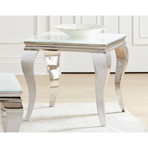 Delilah White and Chrome Square End Table
