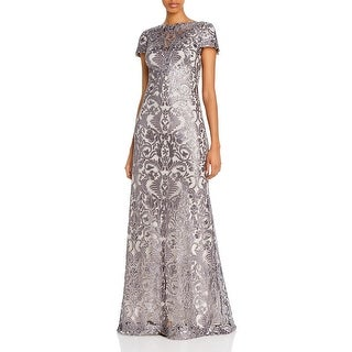 Link to Tadashi Shoji Womens Evening Dress Lace Sequined - Frost Grey Similar Items in Dresses